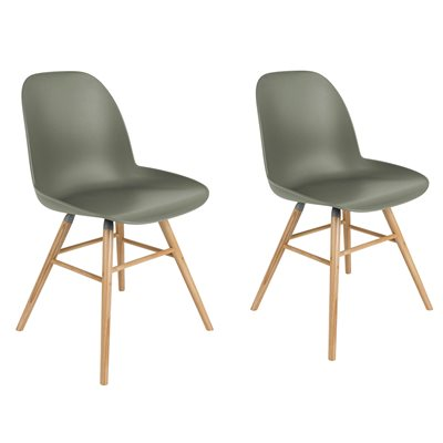 ZUIVER PAIR OF ALBERT KUIP RETRO MOULDED DINING CHAIRS in Olive Green