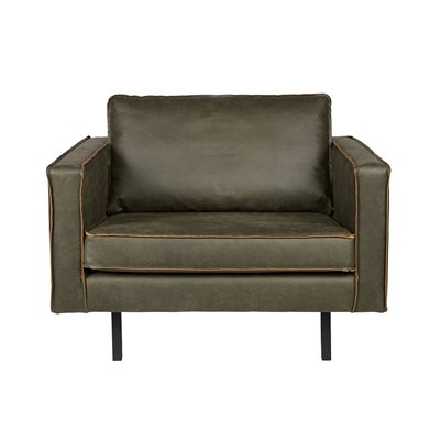 RODEO LEATHER ARMCHAIR in Army Green