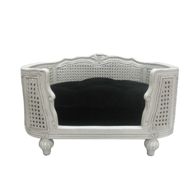 THE ARTHUR DESIGNER PET BED in White Velvet Black