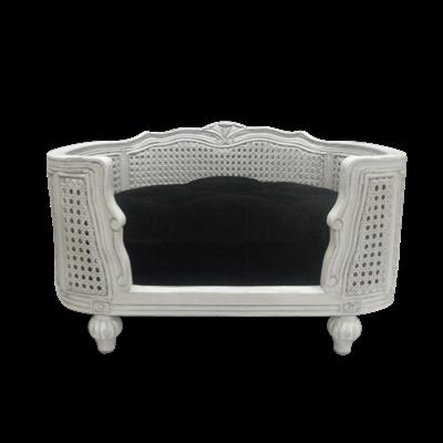 THE ARTHUR DESIGNER PET BED in White Velvet Black