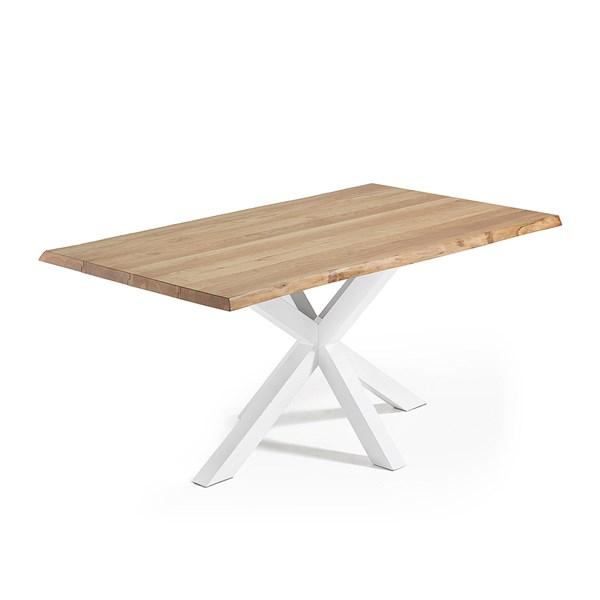Arya Cross Leg Dining Table in White and Oak