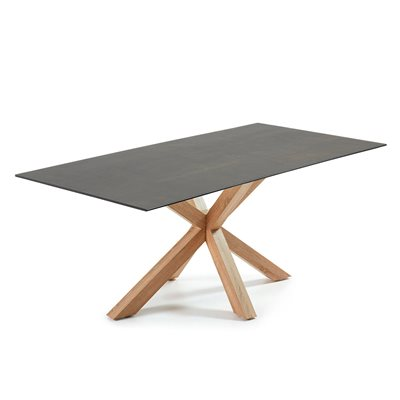 Arya Dining Table with Cross Legs in Iron Moss