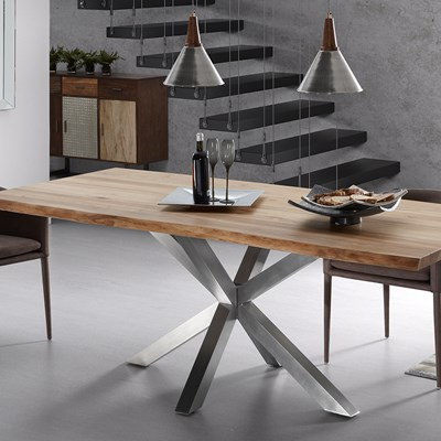 Luxury Wooden Dining Table With Glossy Steel Legs