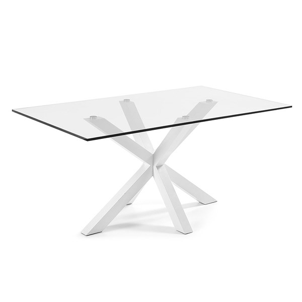 Arya Glass Dining Table in White