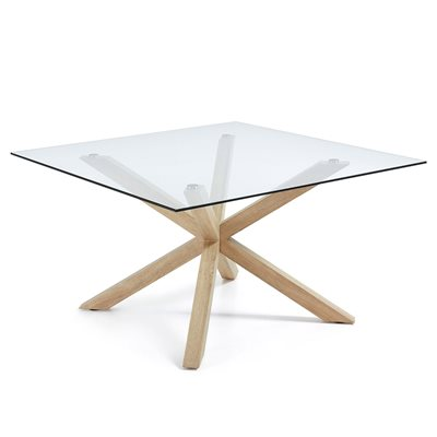 Arya Square Glass Dining Table with Cross Legs