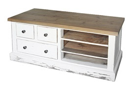 TV UNIT WITH SHELVES & DRAWERS in Distressed Paint Finish