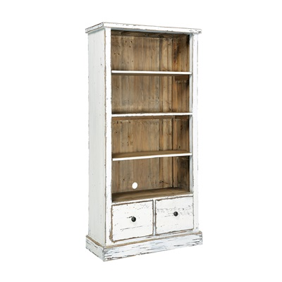 2 DRAWER BOOKCASE in Distressed Paint Finish