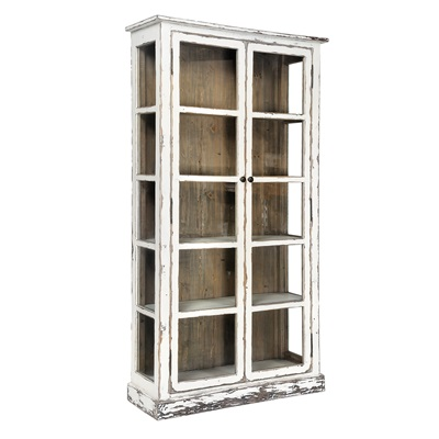 DOUBLE DOOR GLAZED VITRINE CABINET in Distressed Paint Finish