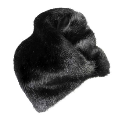 ASYMMETRIC FAUX FUR SCARF in Jet Black