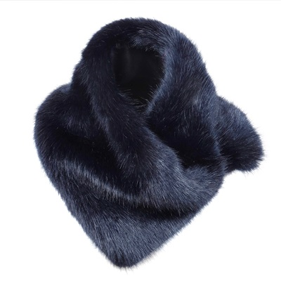 HELEN MOORE FAUX FUR ASYMMETRIC SCARF in Midnight