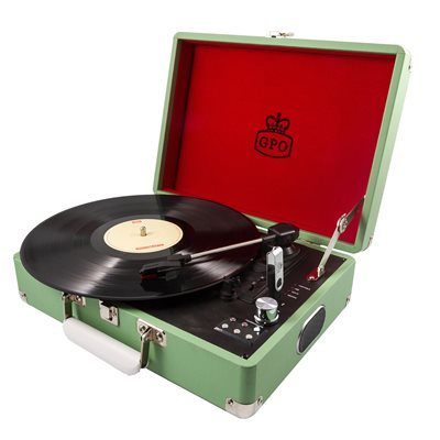GPO ATTACHE RECORD PLAYER TURNTABLE SUITCASE in Green