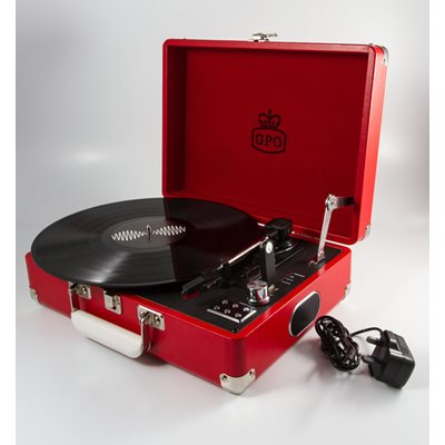 ATTACHE RECORD PLAYER TURNTABLE SUITCASE in Red