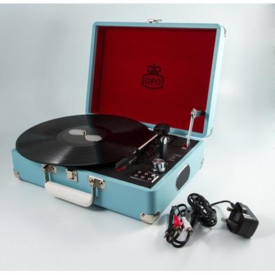 Vinyl Revival Attache Retro Record Player in French Blue Suitcase