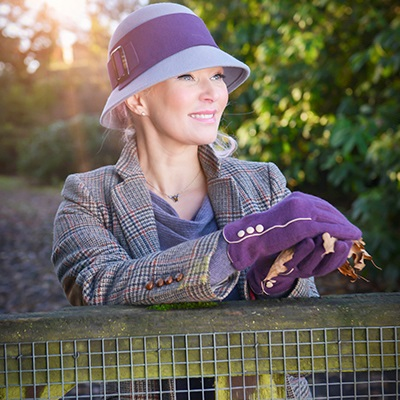 MARLENE Women's Designer Wool Gloves in Aubergine