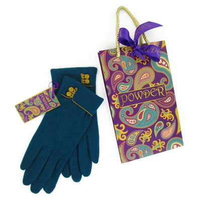 AUDREY Pure Wool Gloves in Teal and Mustard