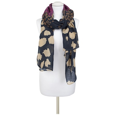 AVALON Mixed Animal Print Scarf in Navy/Violet