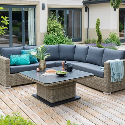 AYA OUTDOOR ROUND CORNER SOFA SET WITH ADJUSTABLE HEIGHT TABLE