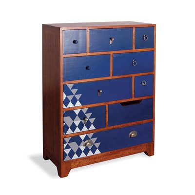 AZTEC MULTI 10 DRAWER CHEST in Navy Blue