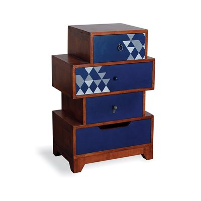 AZTEC MULTI 4 DRAWER CHEST in Navy Blue