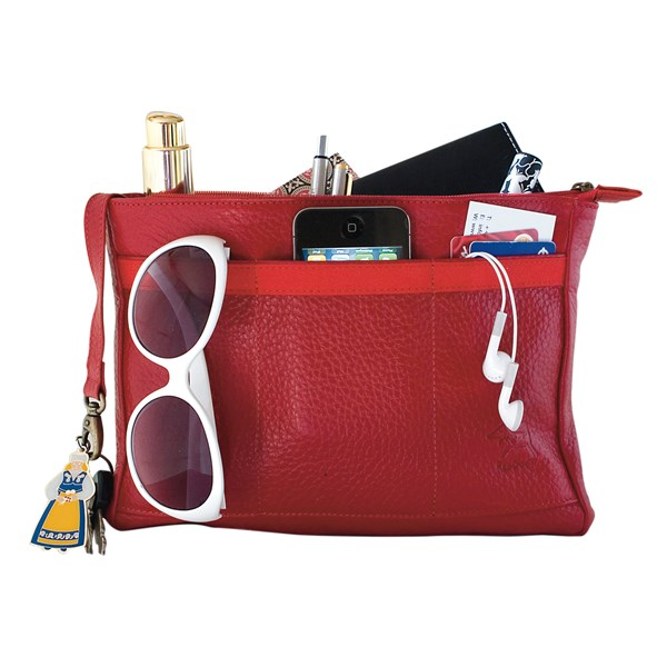BAGPOD Leather Handbag Organiser and Clutch in Ruby Red by RedDog Design Ltd
