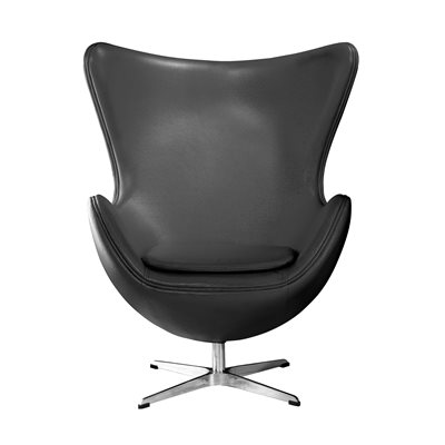 BLACK LEATHER Effect Jubilee Egg Chair with Chrome Base
