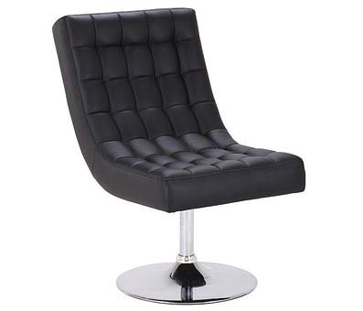 BLACK LEATHER Effect Swivel Chair with Chrome Base