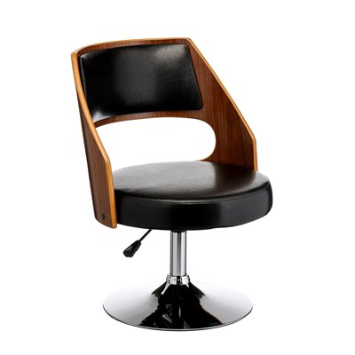 BLACK LEATHER Effect Swivel Chair with Walnut Wood