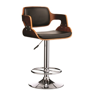 BLACK LEATHER Effect and Walnut Wood Bar Stool