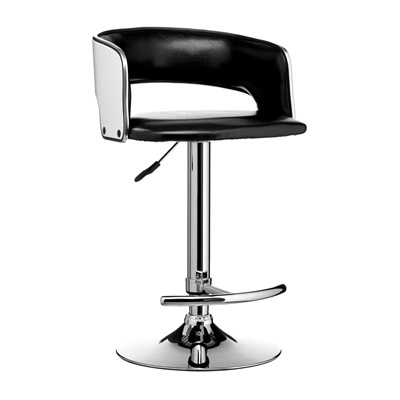 BLACK LEATHER Effect and White Bar Stool