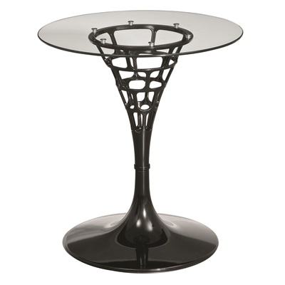 BLACK SENDERO Side Table with Tempered Glass Top