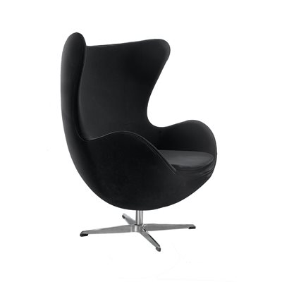 BLACK VELVET Jubilee Egg Chair with Chrome Base