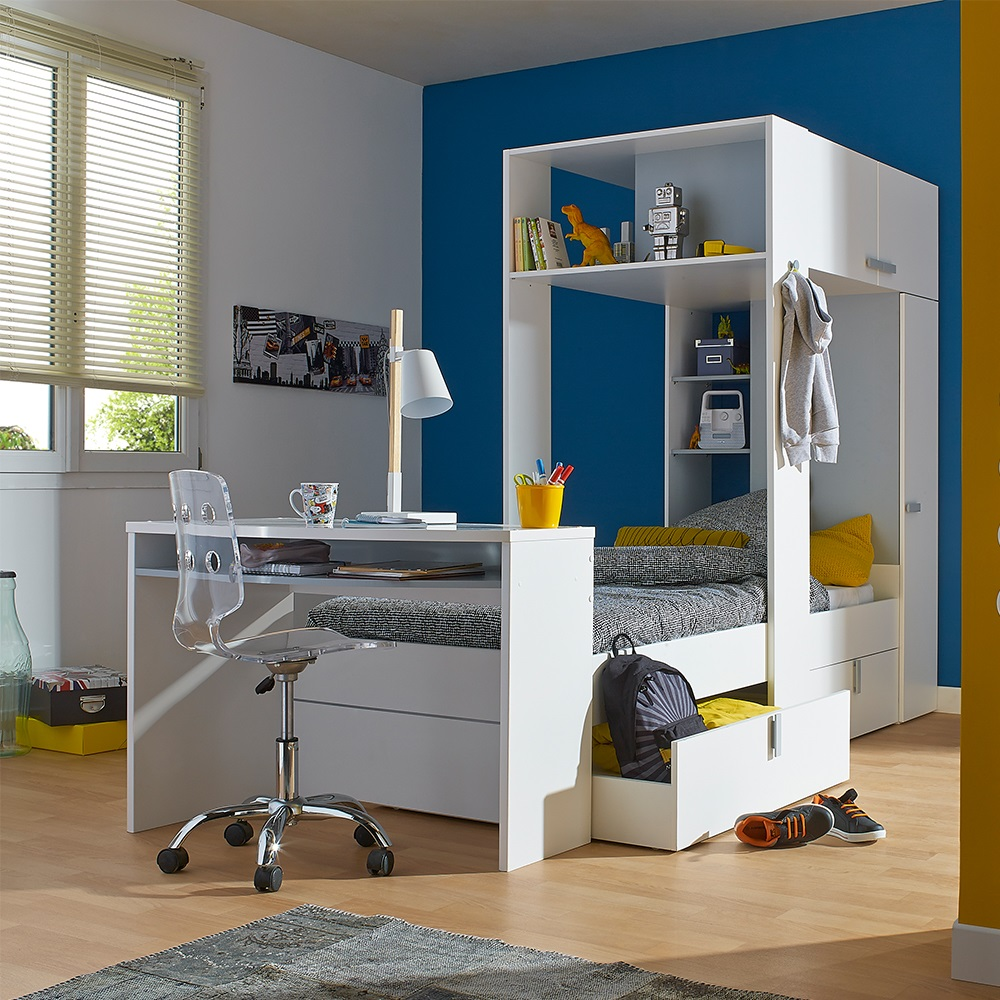 L Storage Bed In White Jpg