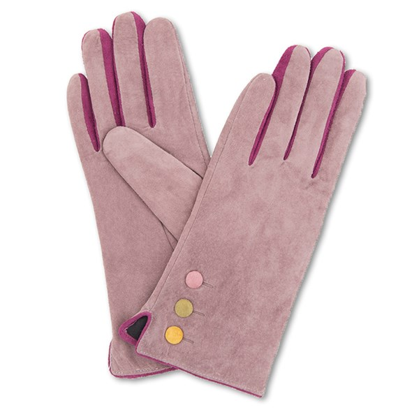 Powder Babette Suede Gloves in Stone and Pink