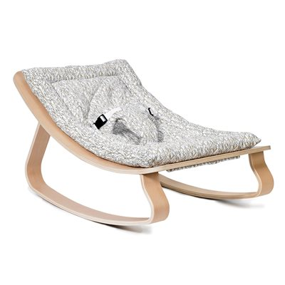 Levo Baby Rocker in Beech Wood with Rabbit Cushion
