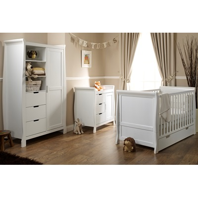 STAMFORD COT BED 3 PIECE NURSERY ROOM SET in White