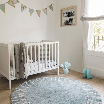 LORENA CANALS ABC KIDS WASHABLE ROUND RUG in Vintage Blue