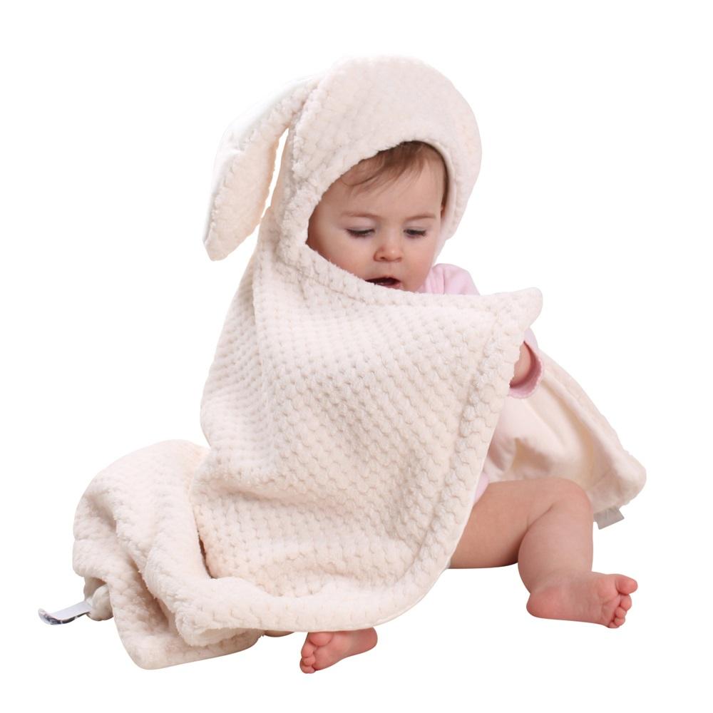 Bunny Ears Baby Blanket In Cream Baby Blankets Throws