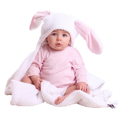 BUNNY EARS BABY BLANKET in White & Pink