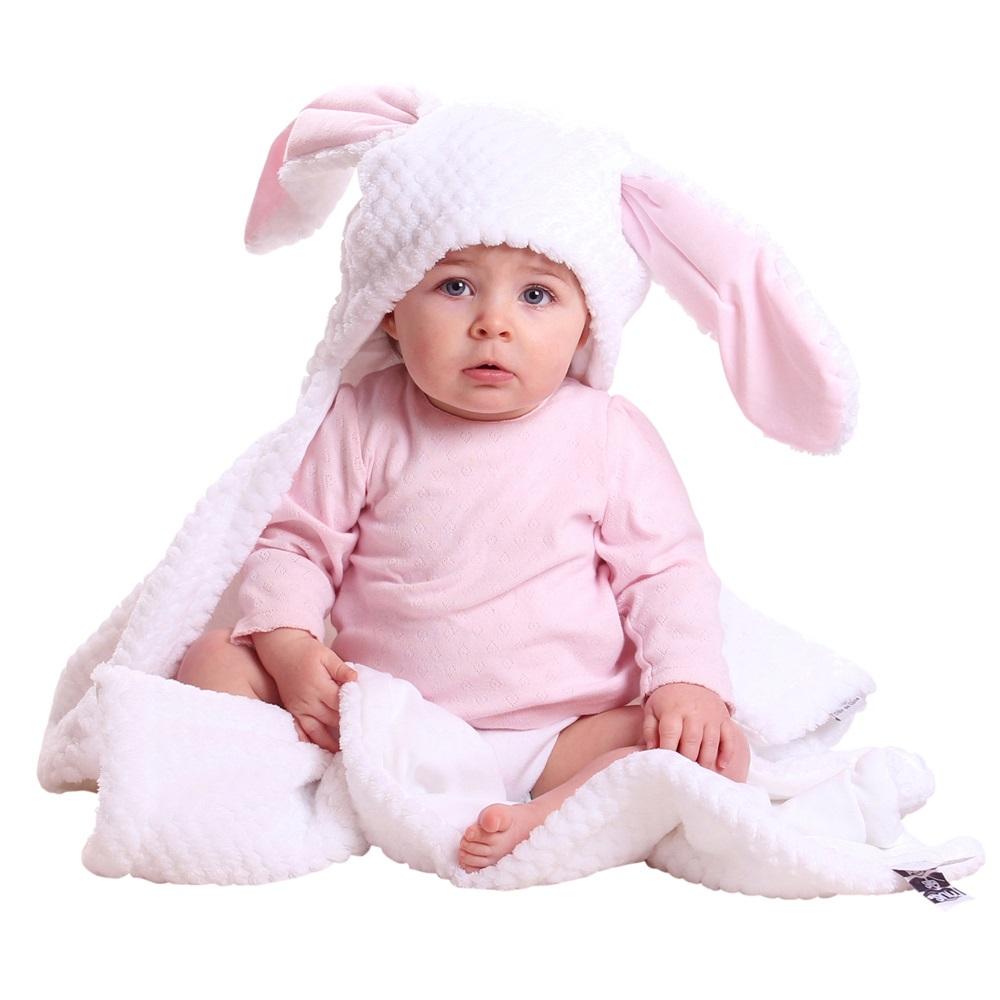 Bunny Ears Baby Blanket In White Amp Pink Nursery Decor