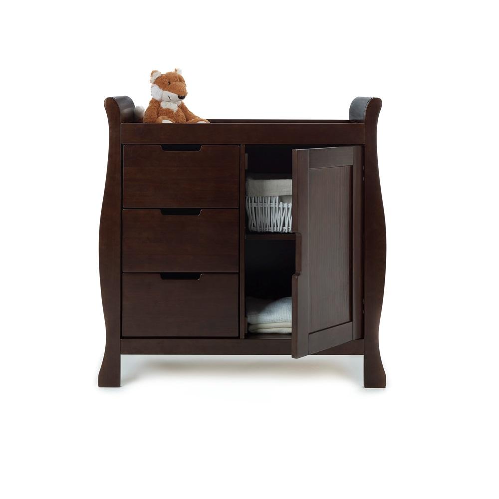 Lincoln dresser baby changing unit in walnut baby Dark wood baby furniture