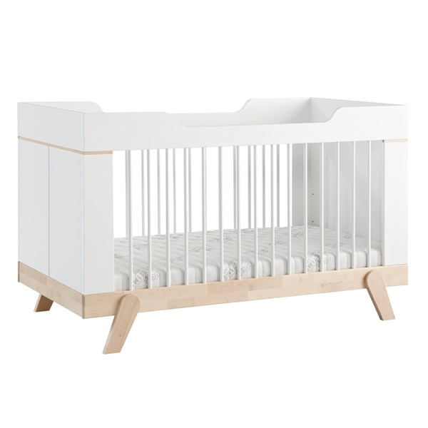 Baby Cot Bed in White and Birch