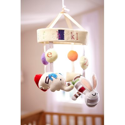NURSERY MUSICAL COT MOBILE in ABC Design