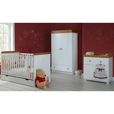 WINNIE THE POOH 3 PIECE NURSERY ROOM SET DOUBLE in White