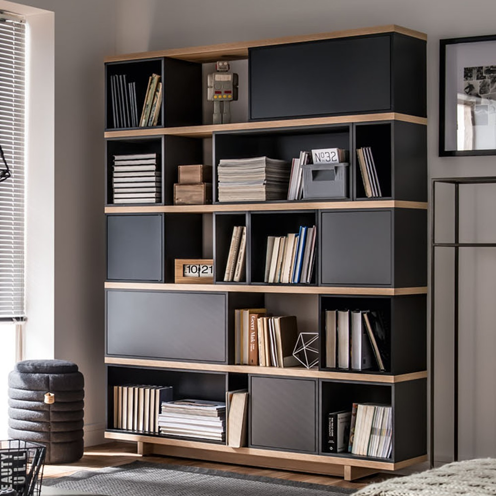 Vox balance modular bookcase in grey and oak effect vox for Contemporary bookshelf plans