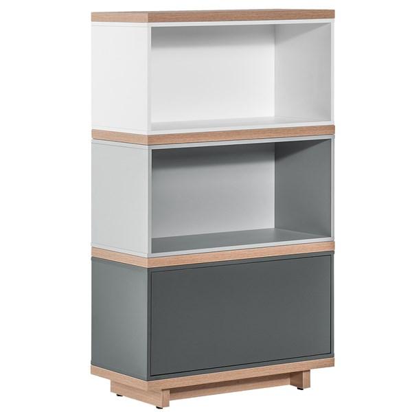 Balance Narrow Modular Bookcase in White and Grey