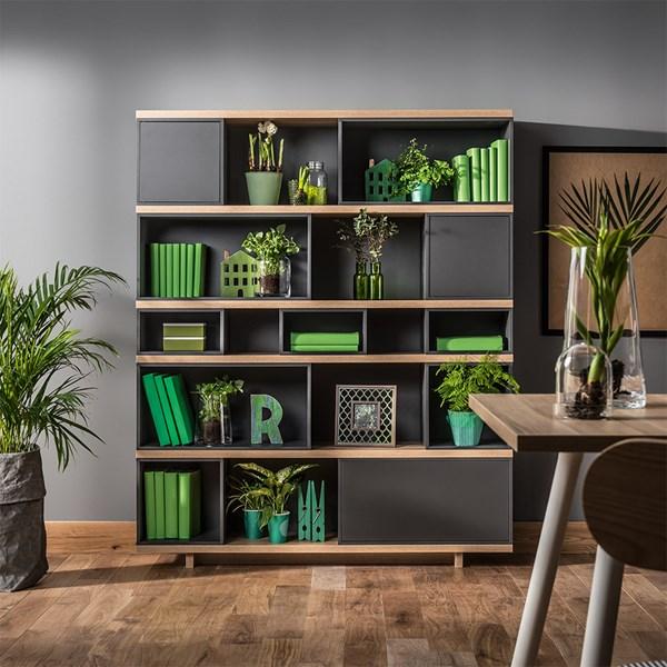 Balance Modular Bookcase in Grey and Oak Effect