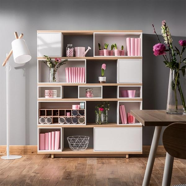Vox Balance Modular Bookcase in White and Oak Effect