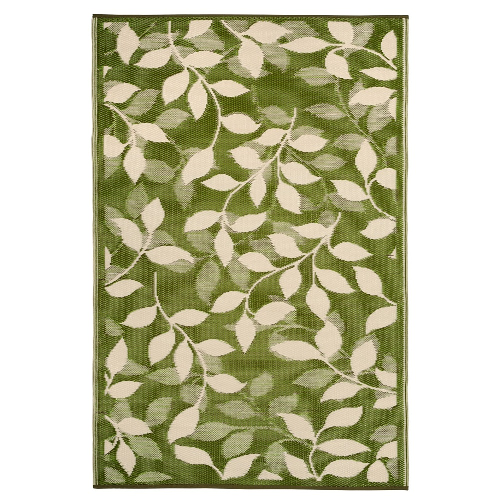 Fab hab bali outdoor rug in green leaf fab hab cuckooland for Green and cream rugs