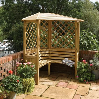 ROWLINSON BALMORAL CORNER ARBOUR in Natural Timber