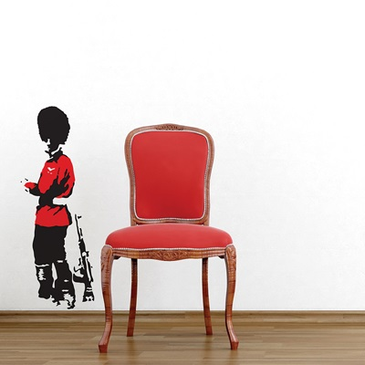 BANKSY WALL STICKER in 'Household Guard' design
